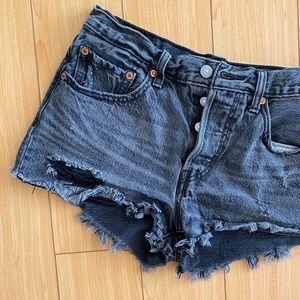 Levi's 501 washed black cutoff shorts 26